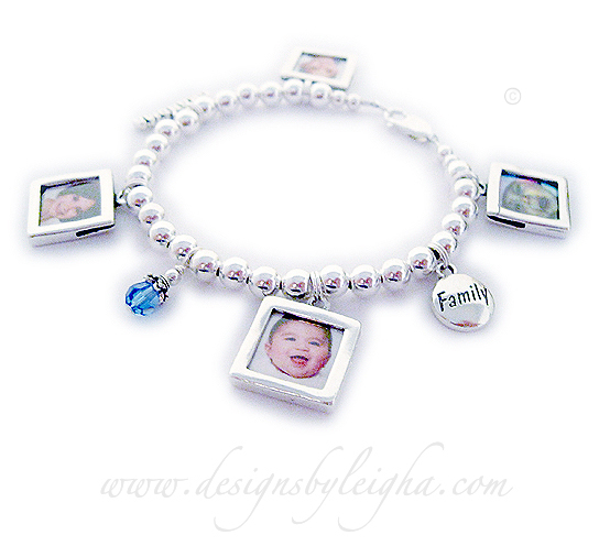 Smooth Picture Frame Charms, FAMILY charm, September Birthsotne Crystal Dangle and GRANDMA charm (it is hard to see) with a lobster claw clasp.