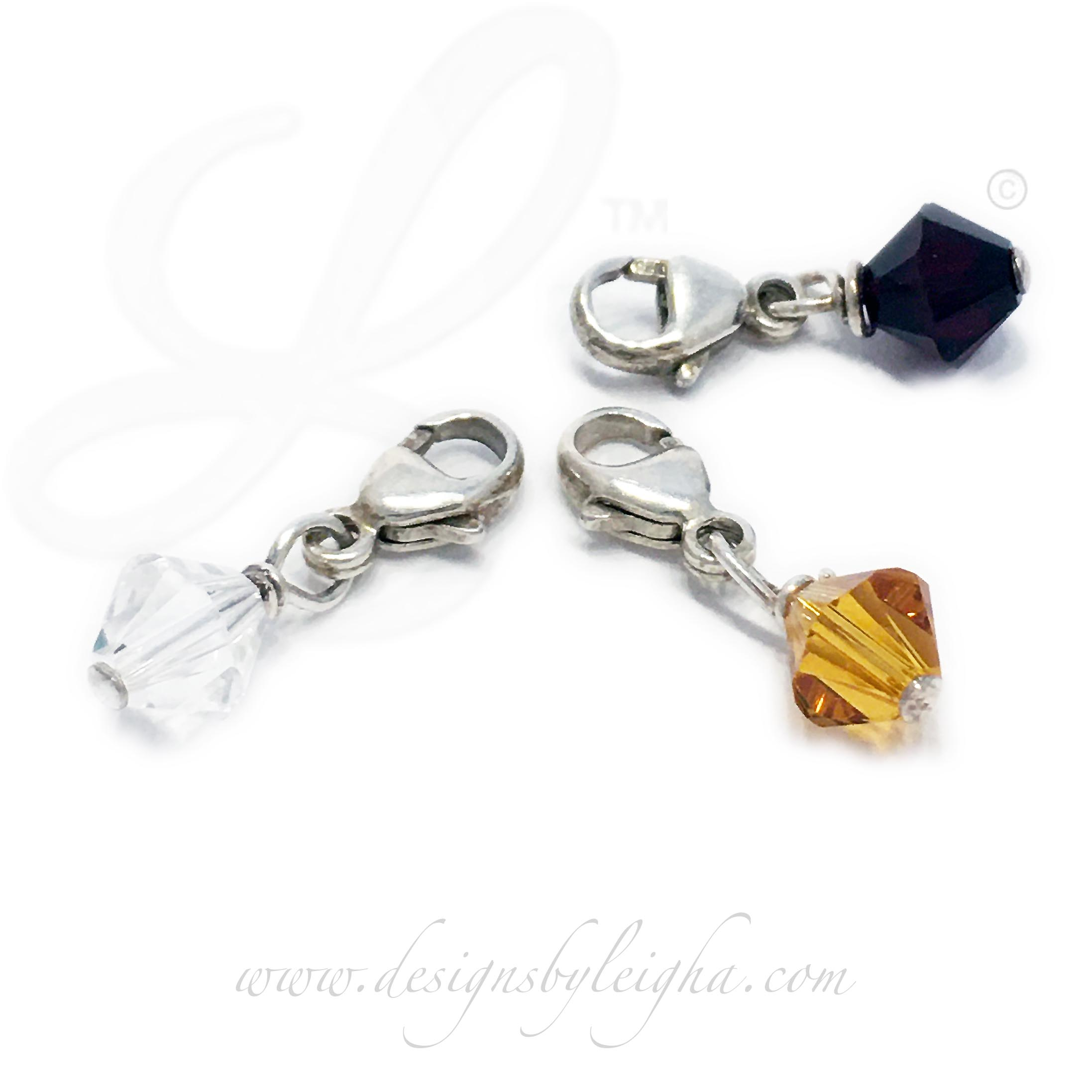 Simple Birthstone Charms with a Lobster Claw Clasp for easy attachment to an existing bracelet or existing necklace.