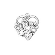 Sterling Silver Love Filigree Charm