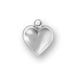 Sterling Silver Medium Puffed Heart Charm