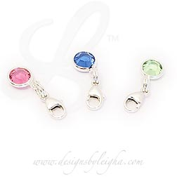 Swarovski Crystal Birthstone Channel Charms with a Lobster Claw Clasp to easily attach to your existing necklace or bracelet