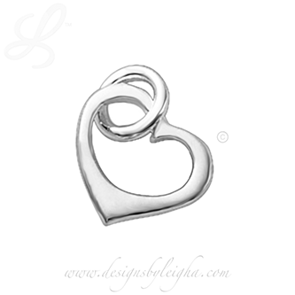 .925 stering silver heart charm for a necklace or bracelet - valentine's day hearts