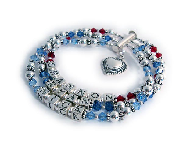 Birthstone Crystal Mothers Bracelet with 3 names and a Heart Charm Shannon Ryan Nick