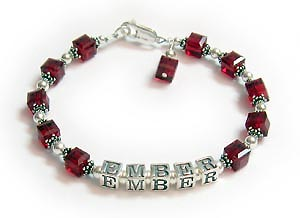 Birthstone Crystal Bracelet with July Birthstone Crystals