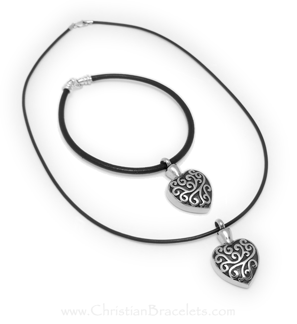 Urn Charm Bracelet and Urn Charm Necklace (Sterling Silver and Leather)