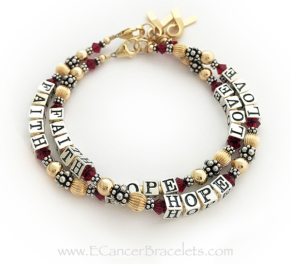 2 Red Ribbon Charm Bracelets with Red Crystals and Gold Ribbon Charm - CBB-R21