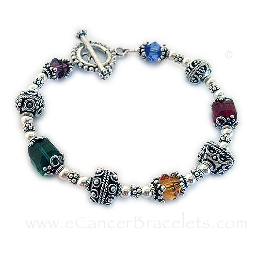 Cancer Awareness Large Bali Bracelet 8mm crystals