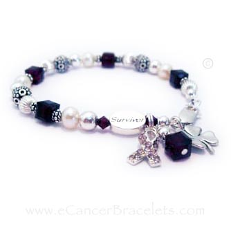 Aneurysm & Breast Cancer Awareness Bracelet  This bracelet is show with dark red Swarovski crystals for aneurysm and migraine awareness and a Pink Crystal Ribbon charm for Breast Cancer Awareness. It is also shown with an add-ons: a SURVIVOR bead & a Lucky Clover charm.