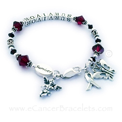 Red Ribbon Bracelet with an Angel Charm, Buttterfly Charm and a Survivor bead - Aneurysm and Migraine Survivor Bracelet - Red Ribbon Bracelet