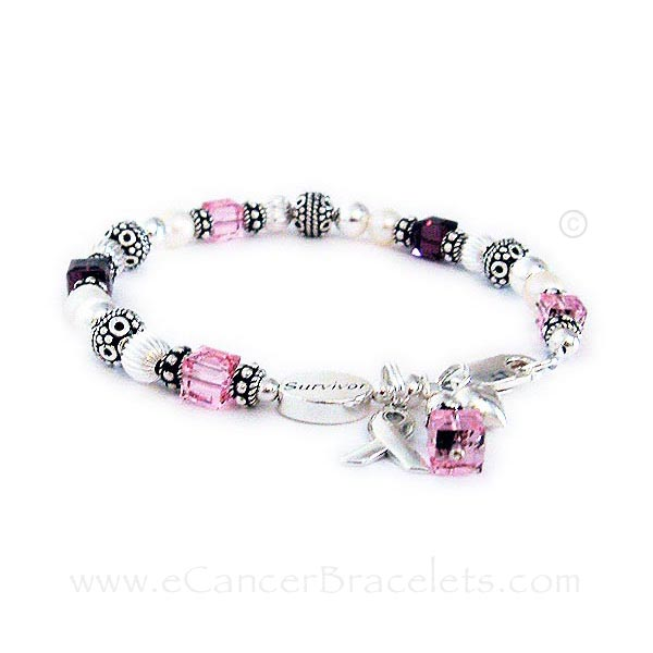 CBB-R25Migraine & Breast Cancer Survivor Bracelet This bracelet is show with dark red and pink crystals. It is shown with an add-on Survivor bead.