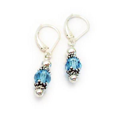 Aquamarine Birthstone Crystal Earrings