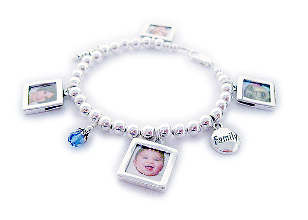 Picture Frame Bracelet with a Family charm