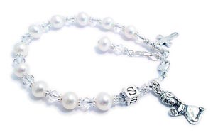 First Communion Bracelet Praying Girl Charm, Cross Charm, Extansion Dangle and Monogram are included in the price.