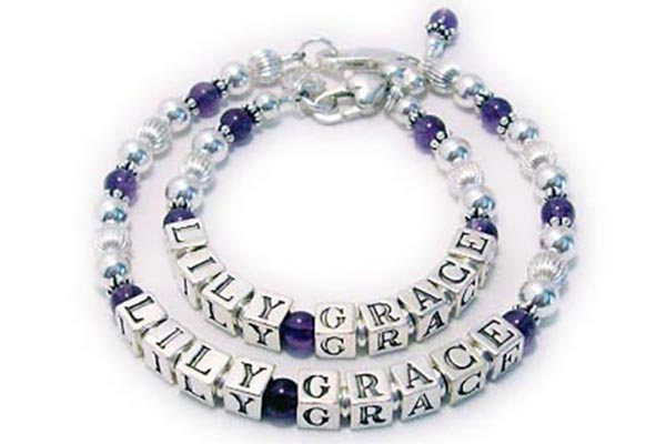 "DBL-Gme-Ame1-1string  *2 bracelets shown*  Name: LILY GRACE Gemstone: Amethyst Size: 7 1/2"" & 5"" Toggle: Lobster Claw  Add-on: Amethyst Birthstone Dangle  Extra Letters: 1"