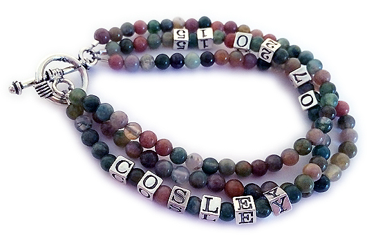 Gemstone bracelet with name and birthdate