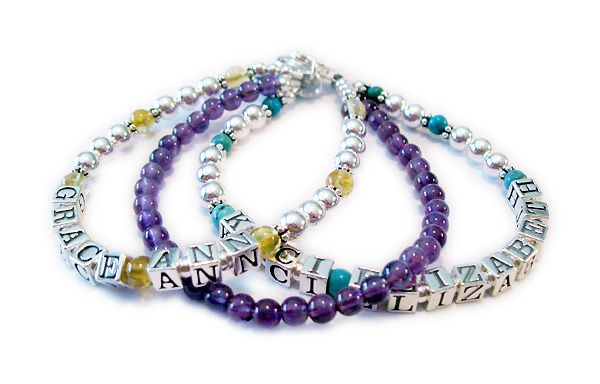 Topaz Amethyst and Turquoise Mothers Bracelet