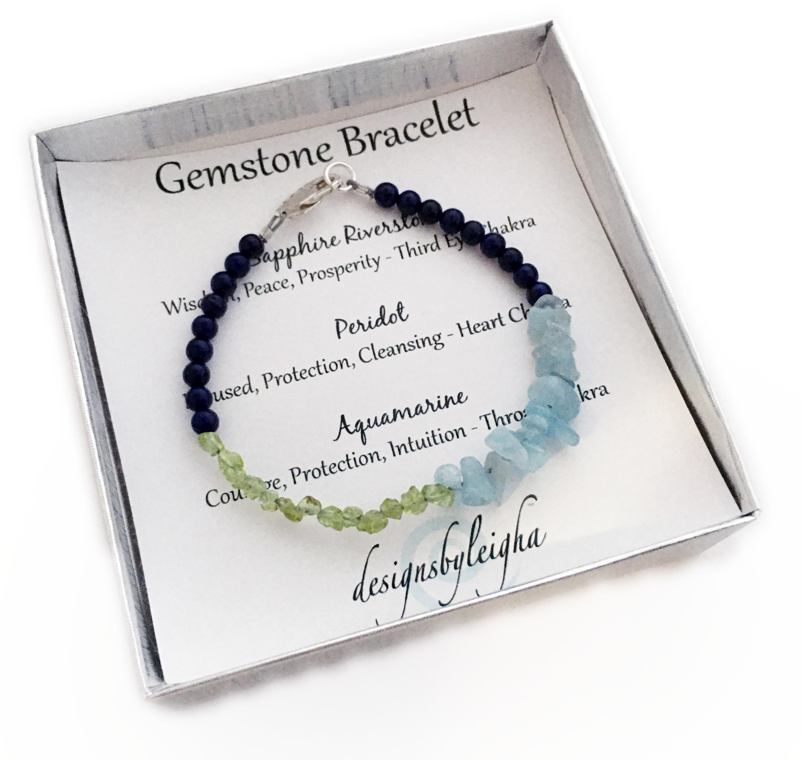 This Sapphire Riverstone, Aquamarine and Peridot bracelet is shown with a Lobster Claw Clasp.Enter: Sep-Mar-Aug-Sep