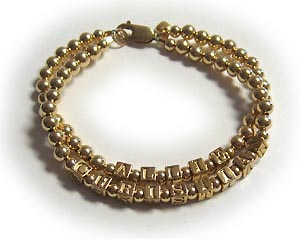 gold block letter mohters bracelet with 3 string and 3 name