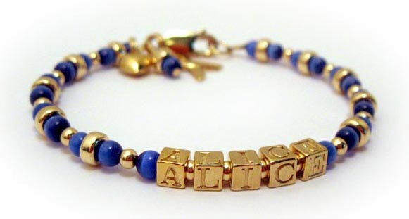 Small GOLD Mothers Bracelet with Cats Eye Beads with ALICE