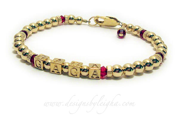 DBL-GG2-1string 6mm crystals   One-string Gold Block Mother Bracelet (DBL-GG2) with 1 name (GAGA for Grandma) and July or Ruby Birthstone 4mm Swarovski crystals. They picked the Gold Lobster Claw Clasp.