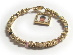 Gold Mothers Bracelet with heart charm