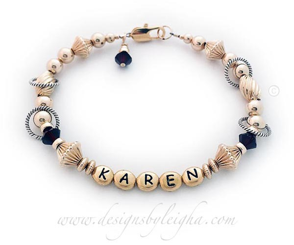 Gold letter block bracelet with KAREN and Garnet Swarovski Crystals DBL-GG10