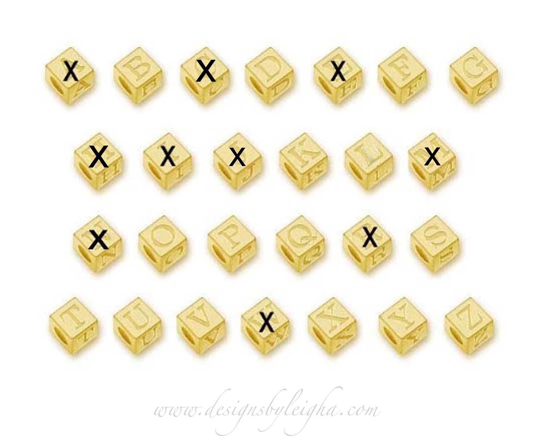 Gold Block Letters for Bracelets and Necklaces