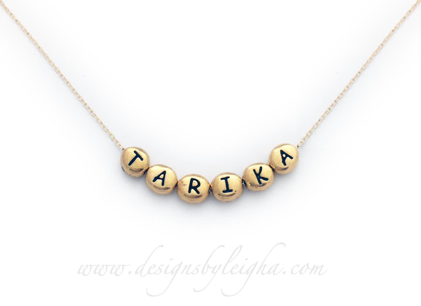 Tarika Name Necklace with Gold Block Letters