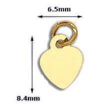 The Gold Heart Charms are 6.5mm x 8.4mm and 14k gold-plated.