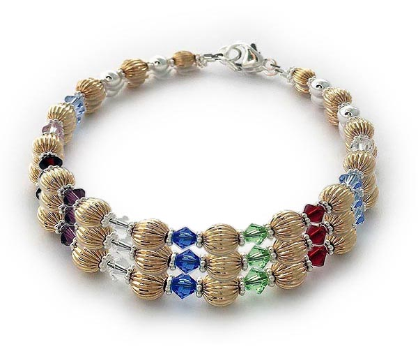 Item: DBL-G4-3 string bracelet Enter: JACK/Mar KATE/Jan ELAOISE/Dec Shown with a gold lobster clasp.