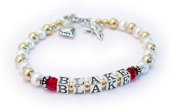 DBL-G1-1string  Enter: BLAKE/July Shown with a Twisted Toggle Clasp. They added 2 charms to their order: Beaded Heart and Angel with Wings