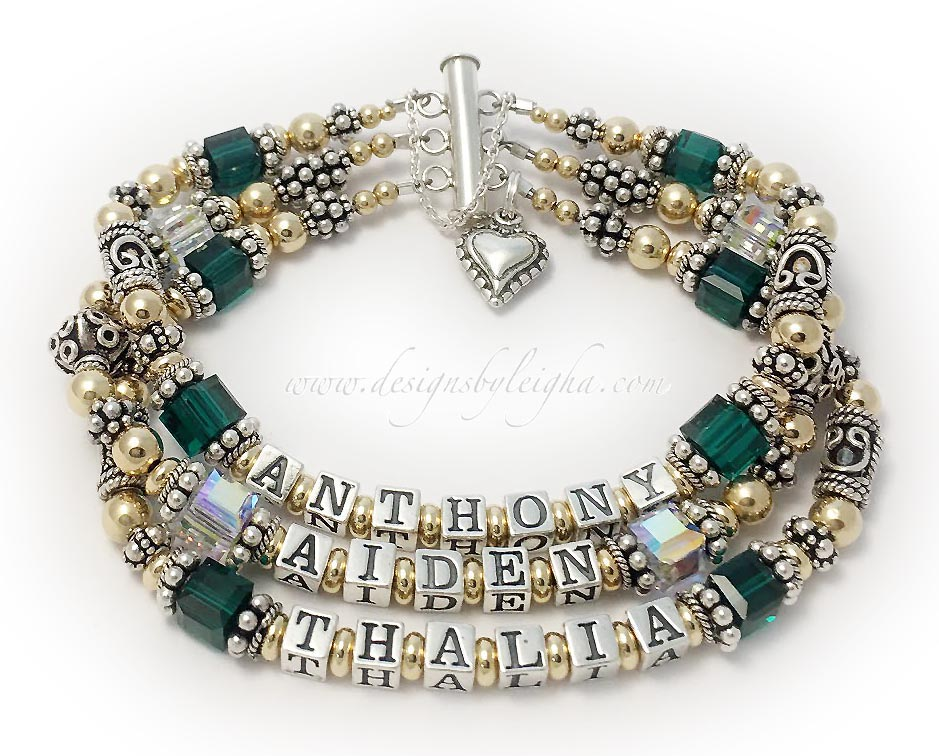 DBL-G11-3string / 3 name ENTER: ANTHONY/May - AIDEN/Apr - THALIA/May  This Gold & Bali Birthstone Mom Name Bracelet is shown on a 3-string slide clasp with a catch chain and an add-on: Beaded Heart Charm