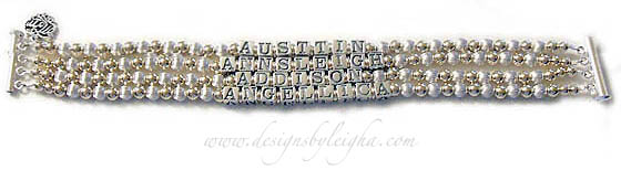 DBL-G1-5 string bracelet  Enter: AUSTIN/AVERILYNN/ANNSLEIGH/ADDISON/ANGELLICA  They added 2 charms to their bracelet order: MOM Filigree Charm and a Praying Boy Charm. This 5-string / 5 name bracelet is shown on a 5-string slide clasp with Austin, Averilynn, Annsleigh, Addison and Angelica.