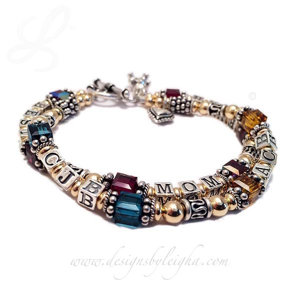 DBL-G11-2string / 5 name/words/initials ENTER: BEST MOM EVER/Jan - CJB/Teal, ACB/Gold This Gold & Bali Birthstone Mom Name Bracelet is a 2 string bracelet with a message on one string: BEST MOM EVER and her kids initials and favorite colors on the second string.