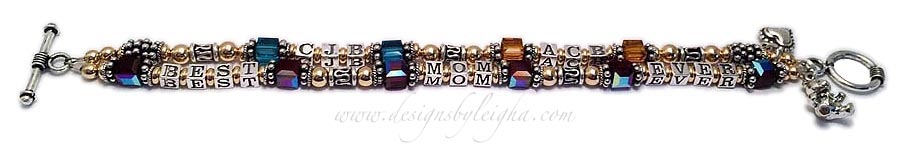 DBL-MB11-2string / 5 name/words/initials ENTER: BEST MOM EVER/Jan - CJB/Teal, ACB/Gold This Gold & Bali Birthstone Monogram Bracelet is a 2 string bracelet with a message on one string: BEST MOM EVER and her kids initials and favorite colors on the second string.