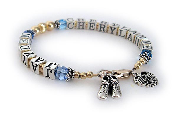 Grandma bracelet with grandchildrens names and birthstone crystals