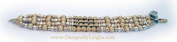 Jimmy, Aaron, Allen & Austin Mother Bracelet with Gold Block Letters with a Prayer Box Charm