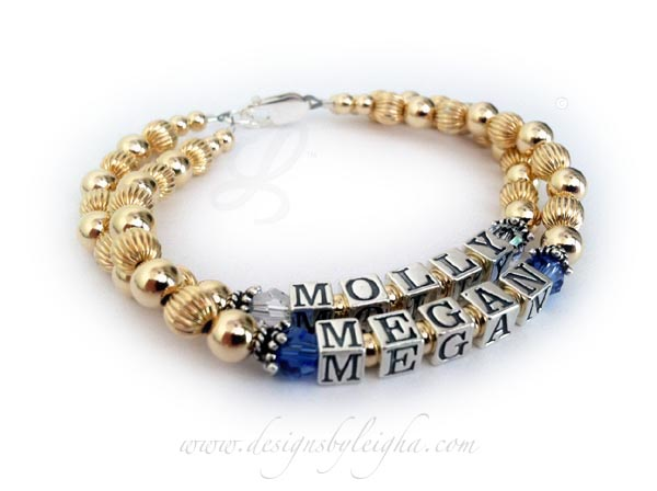 This Gold Mom Bracelet is shown with MOLLY (April or Diamond) and MEGAN (September or Sapphire). They picked the free lobster claw clasp and they didn't add any extras to their order.
