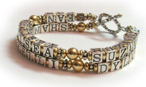 2 string gold mother bracelet with 6 kids names