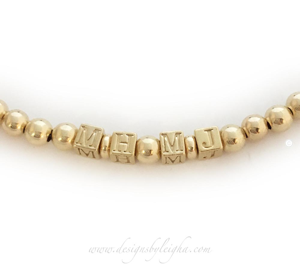 gold block initial bracelet - MH and MJ