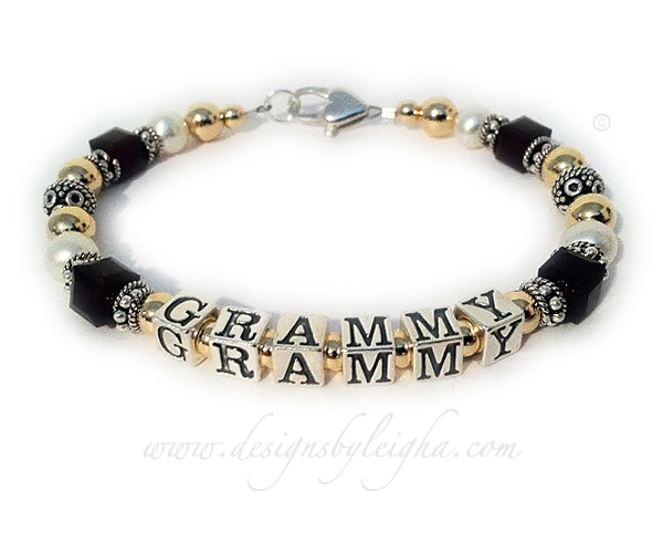 DBL-Gma13 - 1 string bracelet  Enter: GRAMMY/black This bracelet is shown with a Heart Lobster Clasp.
