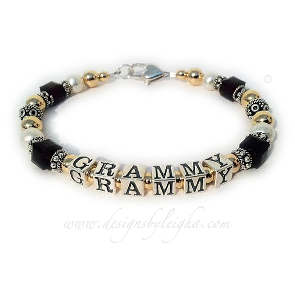 DBL-G8 - 1 string bracelet  Enter: GRAMMY/black This bracelet is shown with a Heart Lobster Clasp.
