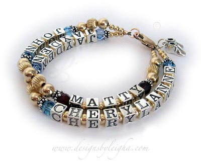 Enter: JAYDEN/Mar, CHERYLANNE/Mar - JOHN/Mar MATTY/Jan  This is a 2- string / 4 name Gold Mom Bracelet with JAYDEN (Aquamarine or March), CHERYLANNE (Aquamarine or March) on the first string and John (Aquamarine or March), Matty (January or Garnet) on the 2nd string. They added Baby Boy Bootie charm and a 14k gold-plated lobster claw clasp to their order.