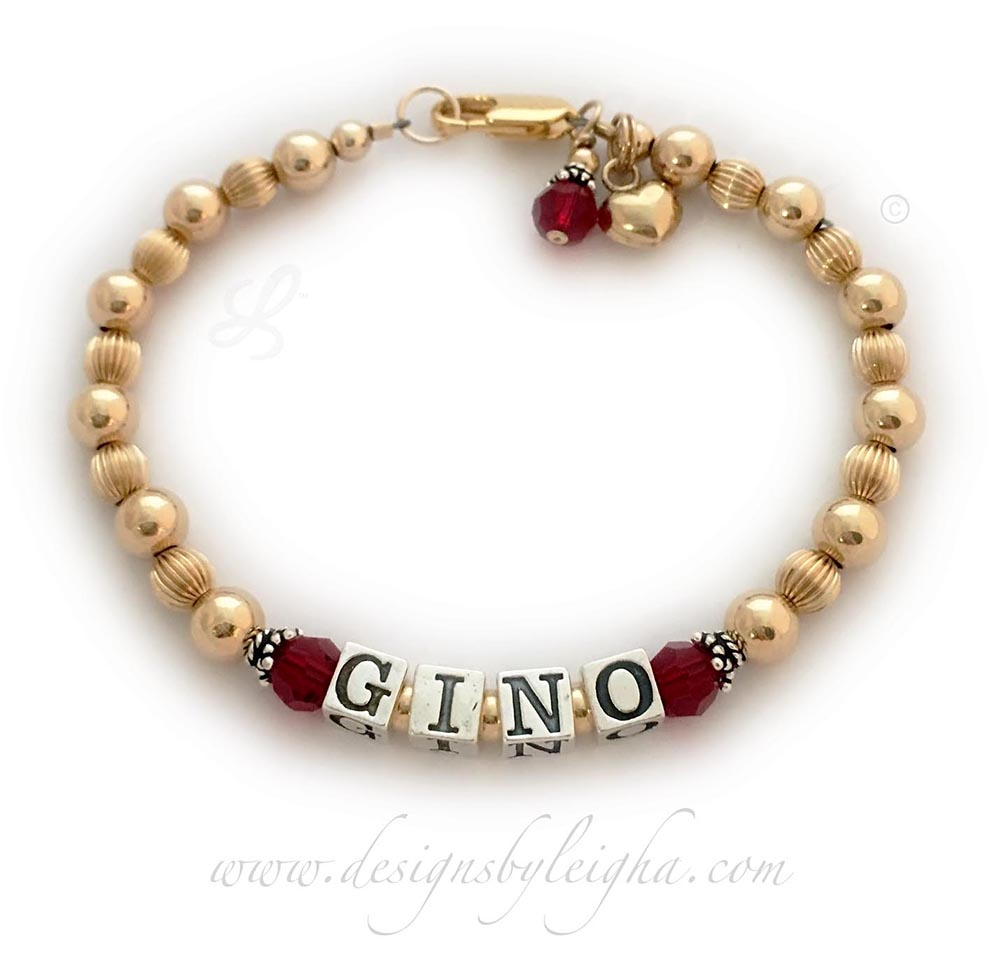 Gold Mom Bracelet with GINO and July or Ruby Birthstone Crystals by Swarovski . They added a 14k gold-filled heart charm and a July Birthstone Crystal Dangle.
