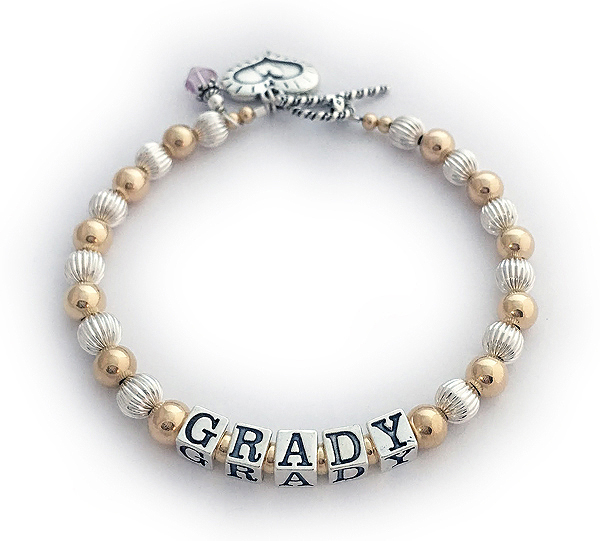 Enter: GRADY/no crystals Add-Ons: This bracelet is shown with a June Birthstone Crystal Charm and a Heart within a Heart Charm.