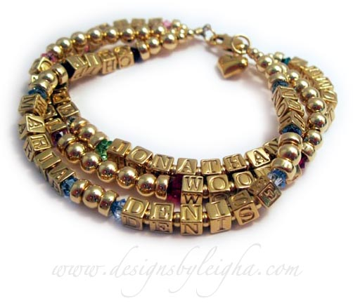 DBL-GG4-3 strings Gold Grandma Birthstone Bracelet with Gold Block Letters  Names/Birthstones  1st string: CHIP/May, MARIA/Dec, DENISE/Dec, JON/Dec 2nd string: Carol/Oct, Woody/Jul 3rd string: CLINT/Oct, KYLE/Apr, JONATHAN/Aug, TOMMY/May  Charm: Gold Puffed Heart optional