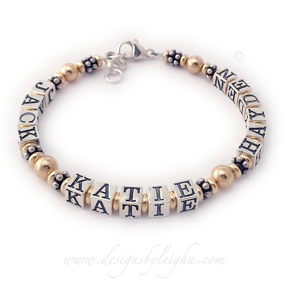 DBL-G5-1 string  This is a 1- bracelet with 4 names Enter: JAKE KATIE HAYDEN They choose a lobster claw clasp with an extension.