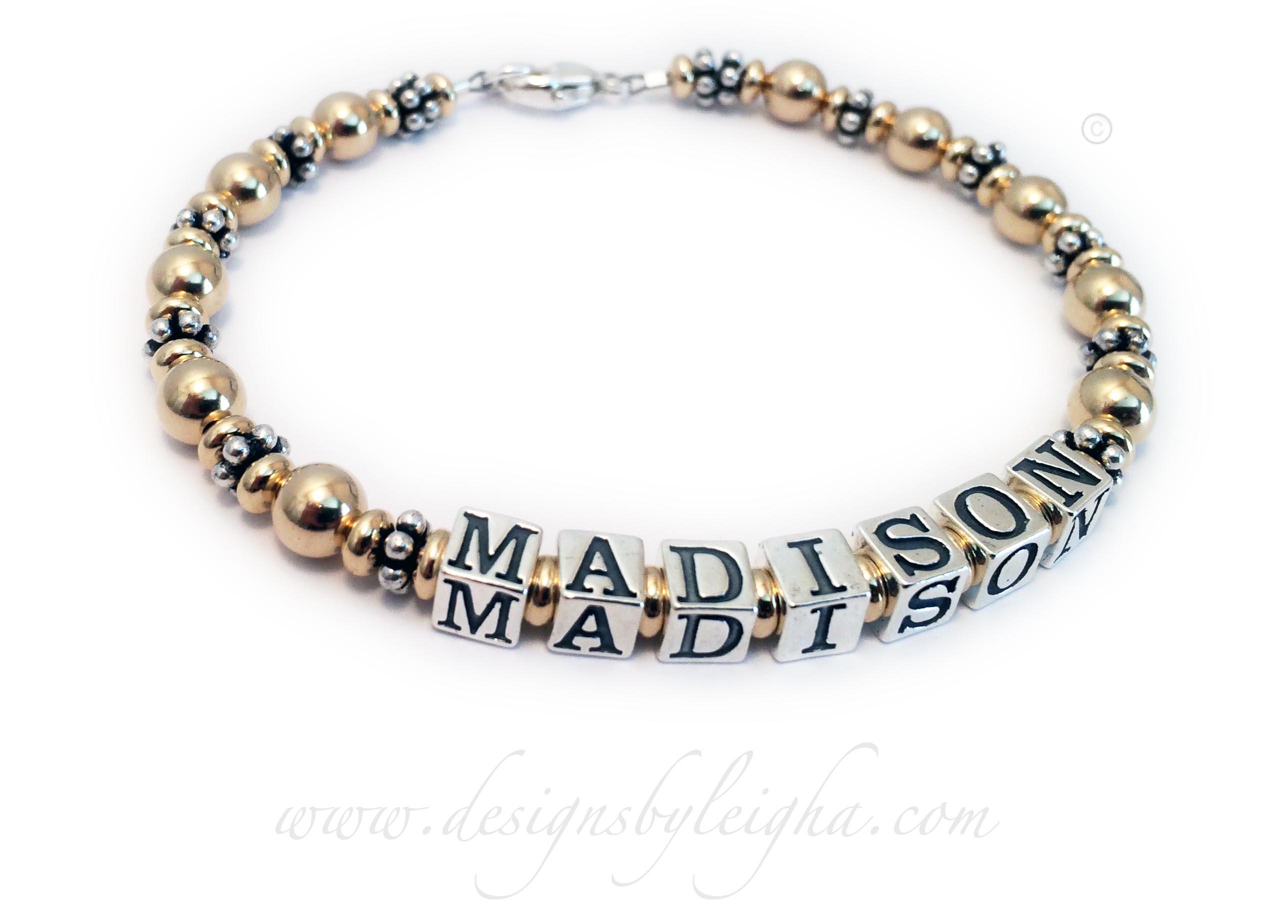 DBL-G5-1string  1 string bracelet with 1 name Gold Bracelet for Mommy Enter: Madison They chose one of my beautiful sterling silver lobster clasps.