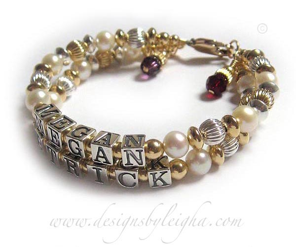 DBL-G9 - 2 string bracelet with 2 names and 2 birthstone charms Enter: MEGAN PATRICK They added 3 things to their 2 string / 2 name Mommy Gold and Pearl Mother Bracelet: February or Amethyst Birthstone Crystal Dangle, July or Ruby Birthstone Crystal Dangle and a 14k Gold-Plated Lobster clasp.