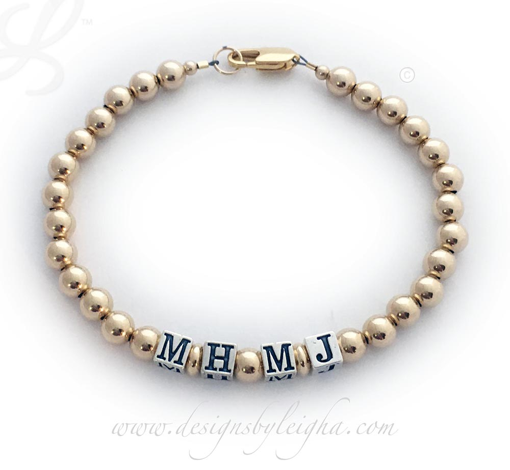 Gold Monogram Bracelet for Mommy or Daddy - DBL-G13